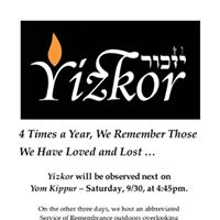 Friday 4618 at 1145am Our YizkorService of Remembrance