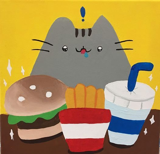 Pusheen with Lunch