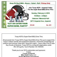 Troop 4070 Super Bowl BBQ Drive Thru