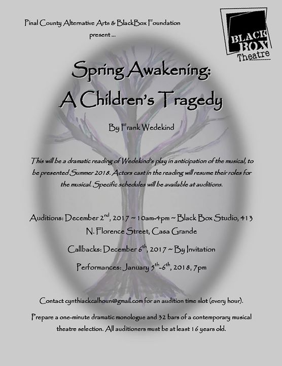 Auditions - Spring Awakening: A Childrens Tragedy at Blackbox ...