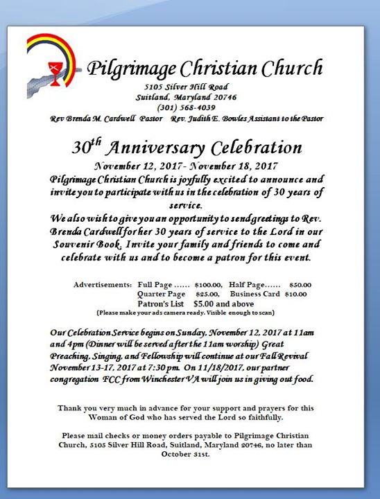 piligrimage christian church anniversary at 5105 silver hill rd