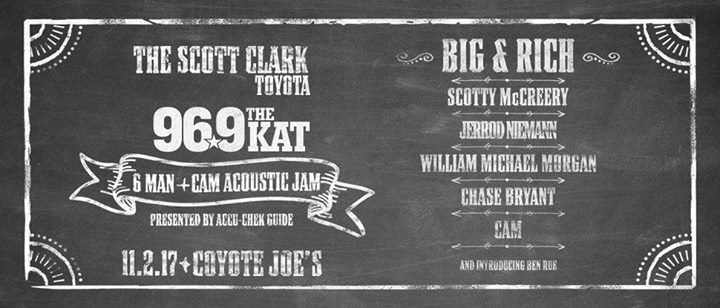 The Scott Clark Toyota 96.9 The Kat 6 Man + Cam Acoustic Jam At Coyote  Joes, Charlotte