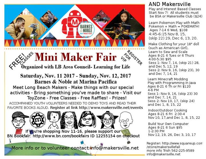Free Long Beach Mini Maker Faire At Barnes And Noble Long Beach