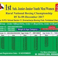 1st Sub-Junior Junior Youth Men  National Boxing championship 2017
