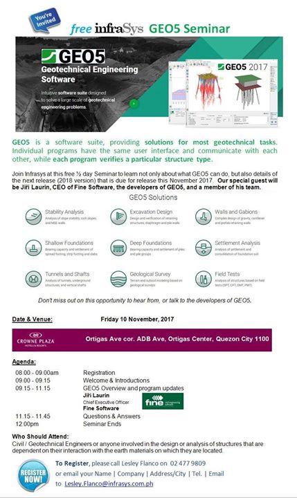 GEO5 Geotechnical free Seminar at Crowne Plaza Manila, Quezon City