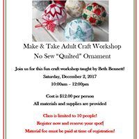 No Sew &quotQuilted&quot Ornament Workshop - Adults