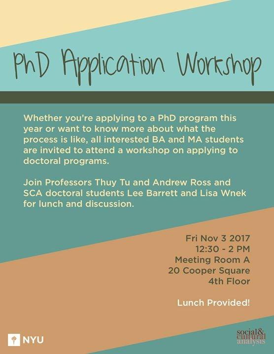 Ph D  Application Workshop at NYU Department of Social
