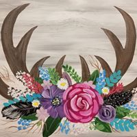 Floral Antlers  Paint Class