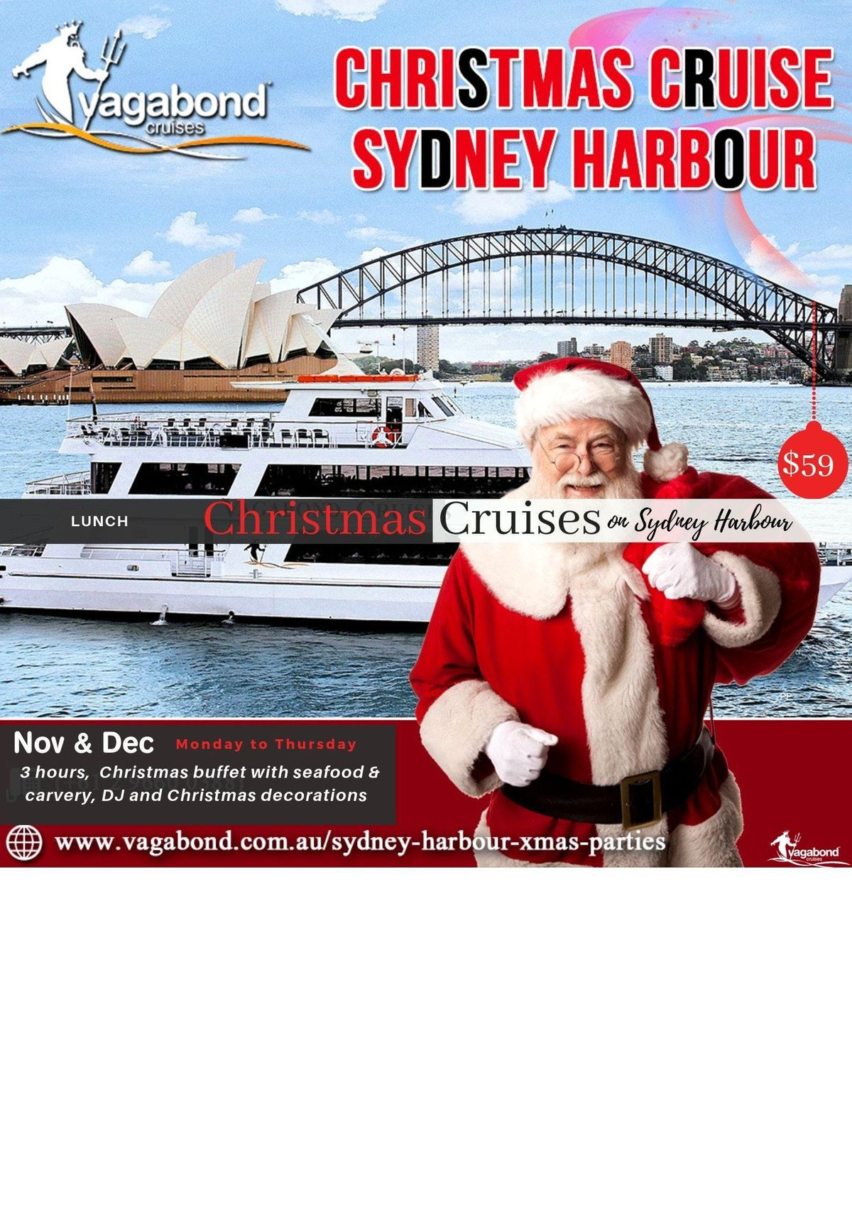 Christmas Party Lunch Cruises on Sydney Harbour on NOV & DEC