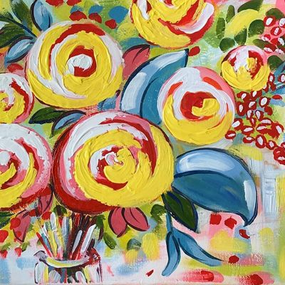 Allys Art - Flowers abstract - fun painting class in Wheeling IL