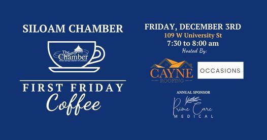 First Friday Coffee Hosted by Cayne Roofing and Occasions, 3 December   Event in Colcord   AllEvents.in