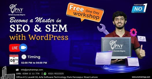 Free One Day Workshop on Become a Master in SEO & SEM with WordPress, 8 August   Event in Lahore   AllEvents.in