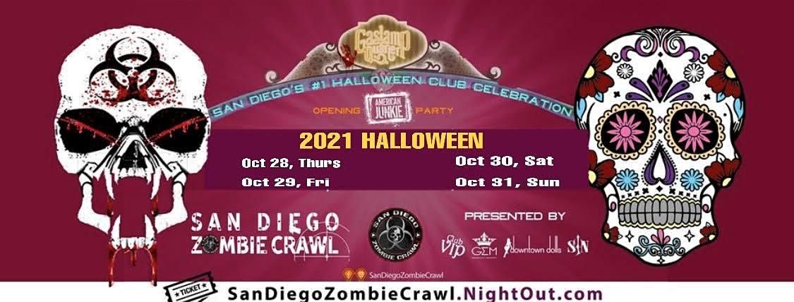 2020 San Diego Zombie Crawl Halloween: Day 3 Fri. Oct 31 In San Diego, Gaslamp Quarter, October 31 2021 Halloween: San Diego Zombie Crawl, San Diego Zombie Crawl, 28