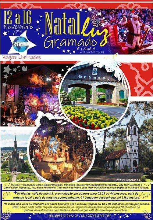 Natal Luz de Gramado-RS 12 a 16112019 com passeios e
