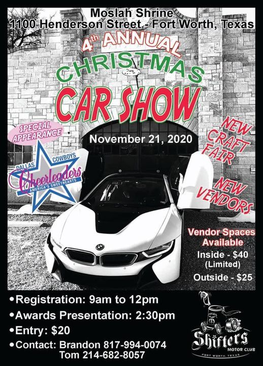 fourth annual moslah shrine christmas car show 1100 henderson st fort worth tx 76102 4521 united states 21 november fourth annual moslah shrine christmas