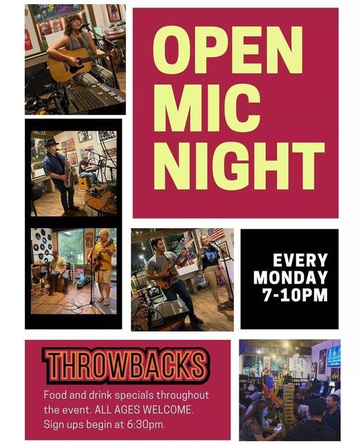 Open Mic Mondays at Throwbacks   Event in Sanford   AllEvents.in