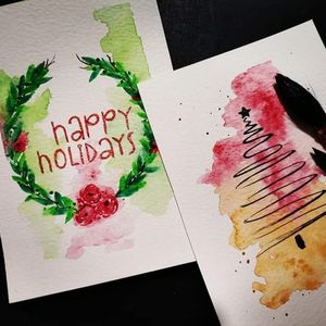 Handmade watercolour gift cards and tags