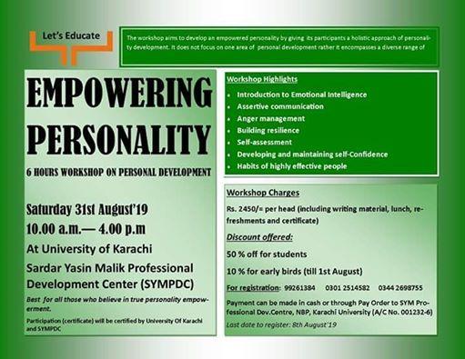 Full Day Workshop: Empowering Personality at University of Karachi