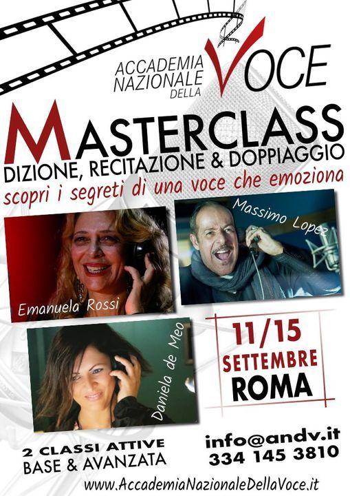 Masterclass Dizione, Recitazione e Doppiaggio/Rossi/Lopez/de Meo | Event in Monterotondo | AllEvents.in