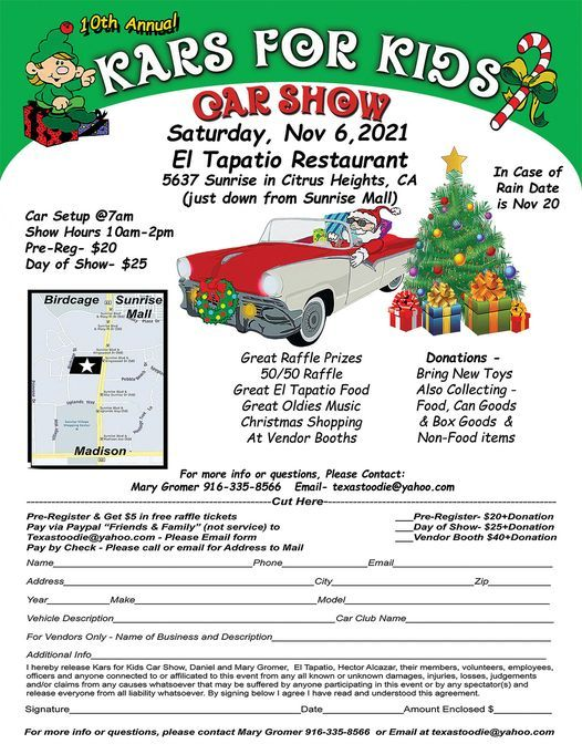 10th Annual KARS FOR KIDS CAR SHOW, 6 November   Event in Citrus Heights   AllEvents.in