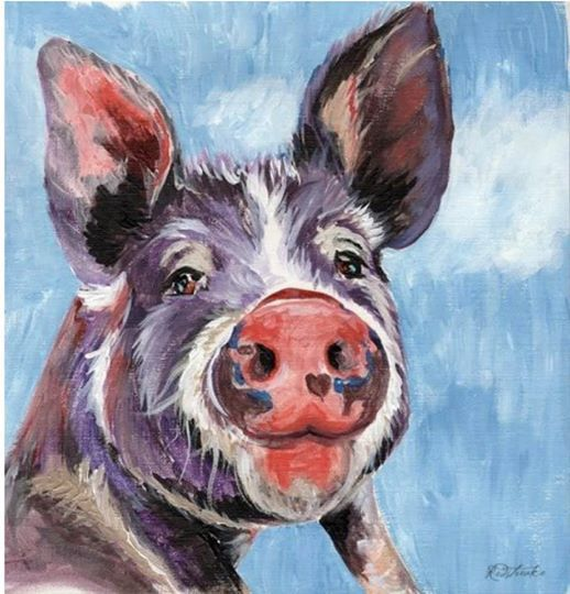 Acrylic Pig Painting Party Hosted by Jennifer Redstreake