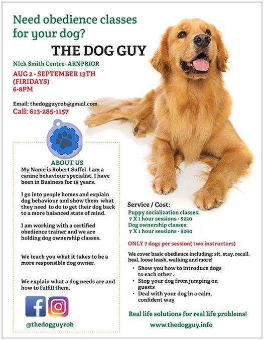 Dog Obedience Training In Arnprior! at Nick Smith Centre