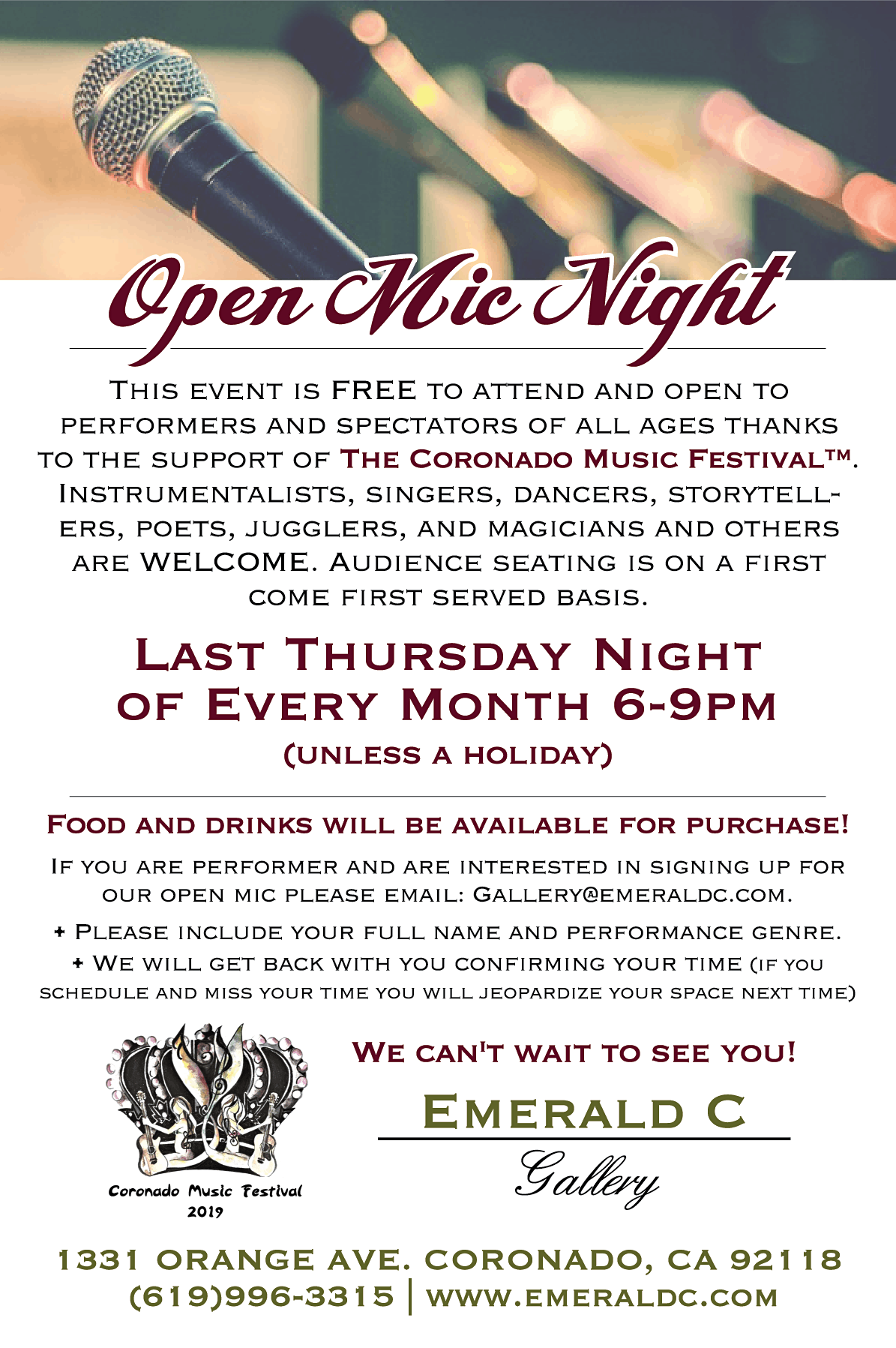 Open Mic Night - Fundraiser for the Coronado Music & Arts Festival