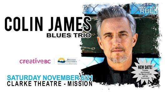 Colin James Blues Trio - November 2021, 6 November | Event in Mission | AllEvents.in