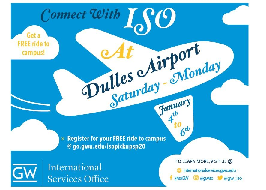 Gwu Spring 2020.Iso Airport Pickup Registration Spring 2020 At Dulles