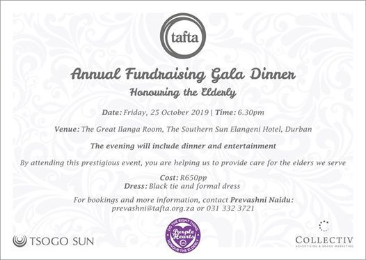 Tafta Annual Fundraising Gala Dinner Event at Southern Sun