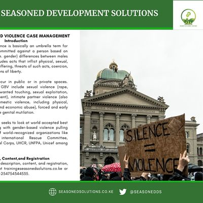 Gender Based Violence (GBV) Case Management Training (Virtual and Onsite)