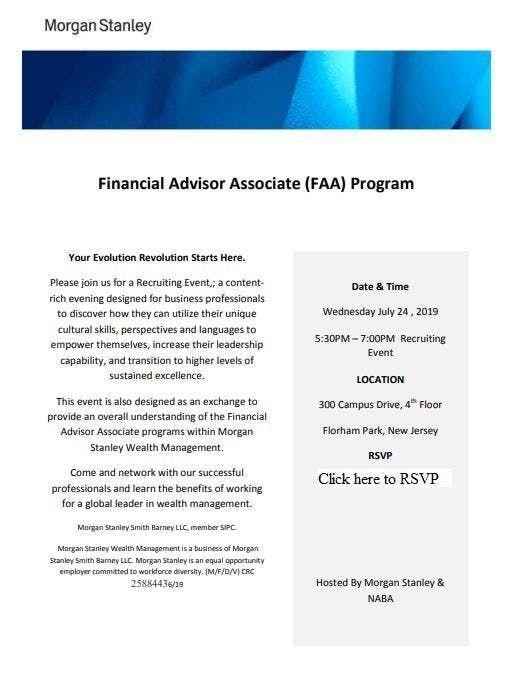 Morgan Stanley Financial Advisor Associate (FAA) Program at