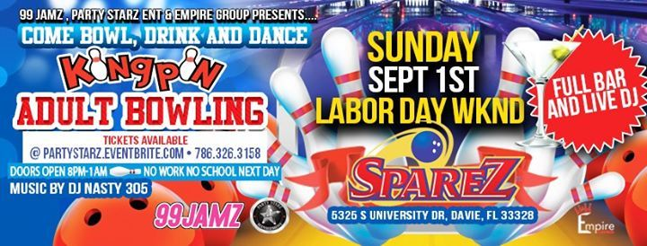 99 Jamz Kingpin Adult Bowling Party Bowl, drink, & Dance at