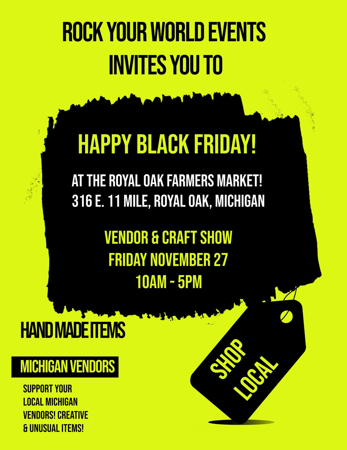 Happy Black Friday Vendor Craft Show At The Royal Oak Farmers Market Royal Oak Farmers Market 27 November 2020