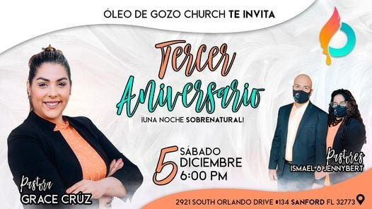 TERCER ANIVERSARIO DE ÓLEO DE GOZO, 5 December | Event in Sanford | AllEvents.in
