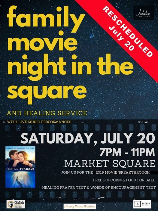 Family Movie Night in the Square & Healing Service at
