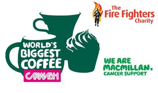 """The FireFighters Charity Macmillan """"Drive thru"""" Coffee Morning Car Wash, 17 April 