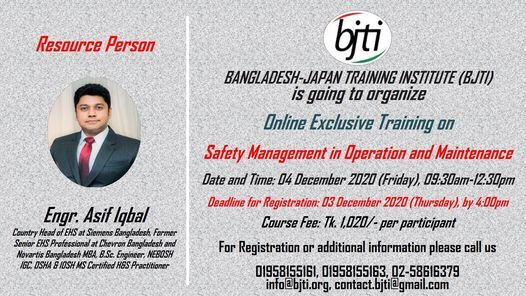 Safety Management in Operation and Maintenance, 4 December   Event in Dhaka   AllEvents.in