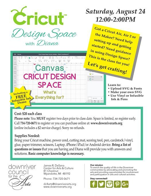 Cricut Design Space at Downriver Council for the Arts, Wyandotte
