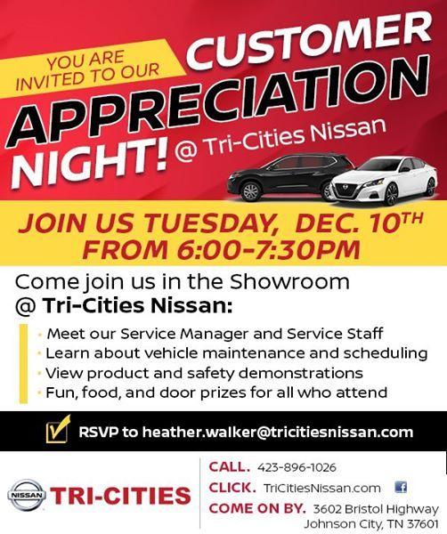 Tri Cities Nissan >> Customer Appreciation Night At Tri Cities Nissan Johnson City