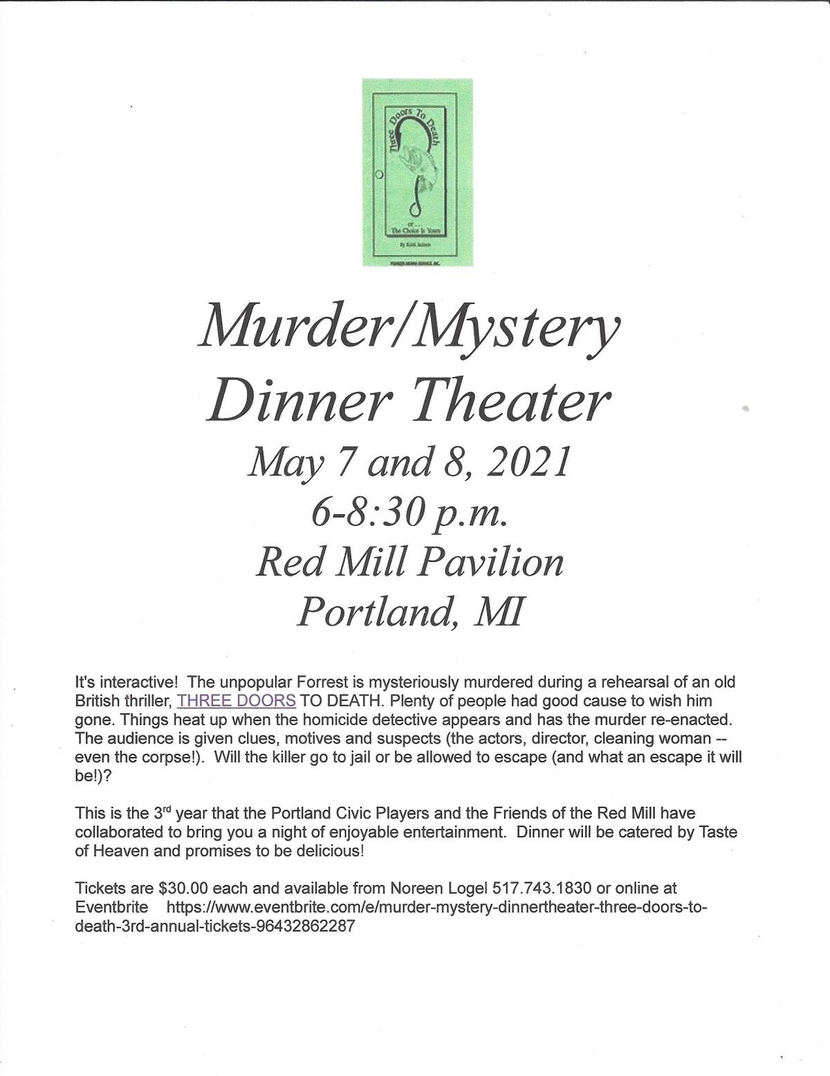 M**der Mystery Dinner/Theater - Three Doors to Death - 3rd Annual, 7 May | Event in Portland | AllEvents.in