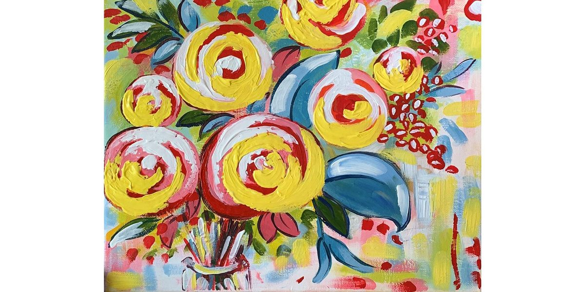 Ally's Art - Flowers abstract - fun painting class in Wheeling, IL, 27 December | Event in Wheeling | AllEvents.in