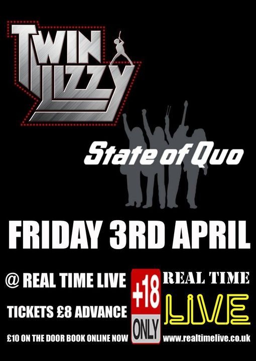 Twin Lizzy + State Of Quo, 26 March | Event in Chesterfield | AllEvents.in
