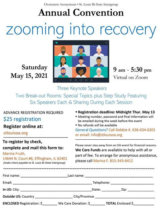 """St. Louis Bi-State IG Convention """"Zooming into Recovery"""", 15 May 