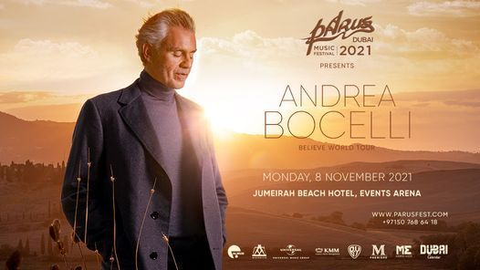 PaRus 2021: Andrea Bocelli – Believe World Tour in Dubai, 8 November   Event in Dubai   AllEvents.in