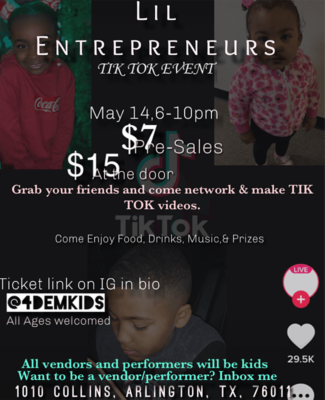 Lil Entrepreneur Tik Tok Event, 14 May | Event in Arlington | AllEvents.in