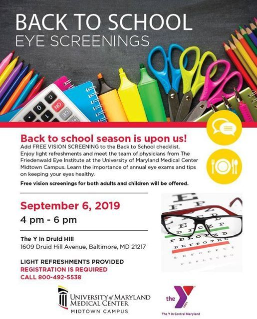 Free Back to School Eye Screenings at The Y in Druid Hill