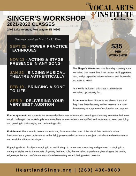 Singer's Workshop - Acting & Stage Presence in Any Song, 13 November   Event in Fort Wayne   AllEvents.in