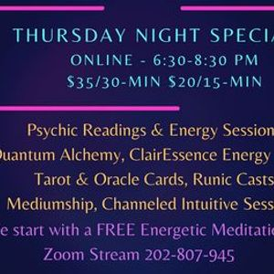 Psychic Readings and Energy Healings - Thursday Night Specials Online