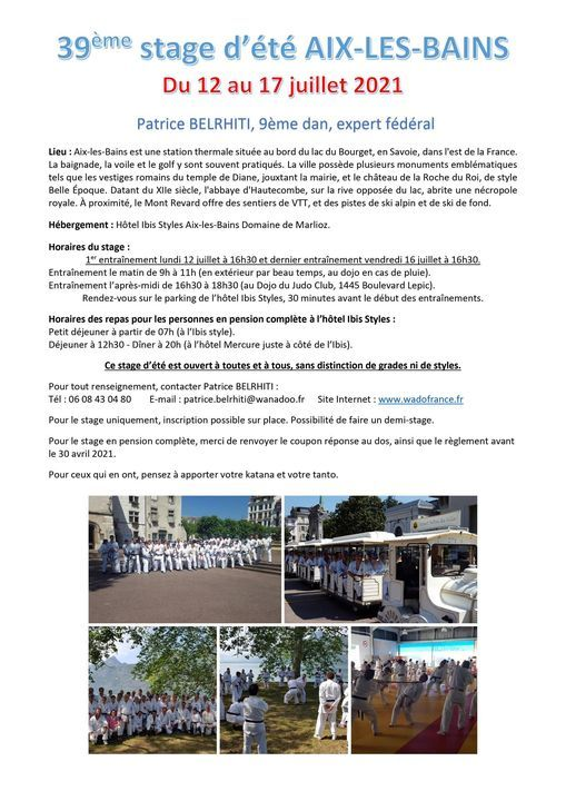 39ème stage d'été à Aix-Les-Bains (Savoie) avec Patrice Belrhiti, 12 July   Event in Aix-les-bains   AllEvents.in